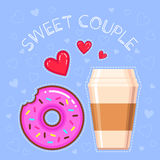Vector illustration of chocolate donut with pink glaze, coffee cup, red hearts and text `sweet couple` Royalty Free Stock Image