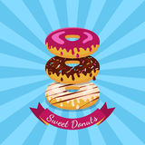 Vector illustration of chocolate, white and pink sweet donuts. F Royalty Free Stock Image
