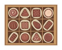 Vector illustration of chocolates candies in a box royalty free illustration