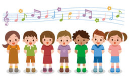 Vector illustration of choir girls and boys singing a song stock illustration