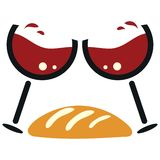 Vector illustration for Christian community: Communion Eucharist Chalice of Wine and Bread. Great as Communion or Eucharist icon royalty free illustration