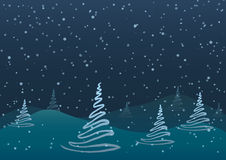 Vector illustration. Christmas. Abstract trees against a blue background of falling snow. Stock Images