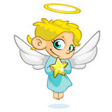 Vector illustration of Christmas angel with nimbus and star. In his hands Stock Images