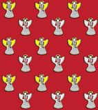 Vector illustration of christmas angels playing the flutes on the red background seamless pattern. Hand drawn christmas angels playing the flutes on the red Stock Photography