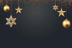 Vector illustration of christmas 2017 background with christmas ball star snowflake confetti gold and black colors. Lace for text 2018 Stock Image