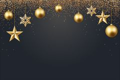 Vector illustration of christmas 2017 background with christmas ball star snowflake confetti gold and black color. S lace for text 2018 Royalty Free Stock Photos