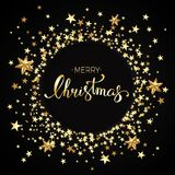 Vector illustration of christmas background with gold stars and. Hand lettering Stock Illustration