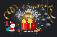 Vector illustration of christmas 2018 background with santa claus. Christmas confetti gold and deer Stock Image