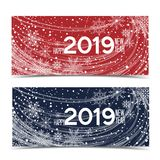 New Year 2019. Vector illustration Christmas background with snowflakes. New Year 2019. Two banners Royalty Free Stock Photography