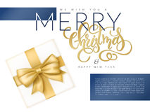 Vector illustration of christmas banner with top view of gift with golden ribbon and hand lettering word - christmas Royalty Free Stock Images