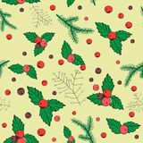 Vector illustration of christmas berries on light yellow background. Seamless pattern Stock Photo