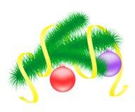 Christmas branch with balls. Vector illustration of Christmas branch with balls Royalty Free Stock Photos