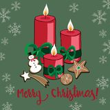 Vector illustration of Christmas candles with cookies and snowflakes on green background. Merry Christmas. Hand drawn Christmas candles with cookies and royalty free illustration
