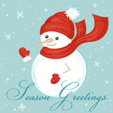 Vector illustration of christmas card with cute snowman, greeting and snowflakes. Can be used for greeting card, invitation, banne Royalty Free Stock Photo