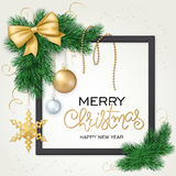 Vector illustration of christmas card with frame, christmas ornament, hanging on fir-tree branches and lettering Royalty Free Stock Photo