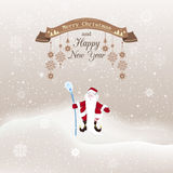 Vector illustration Christmas, Christmas snowfall with drifts an. D reaches up retro ribbon with snowflakes on a string. New year with Grandfather frost Stock Images