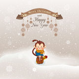 Vector illustration Christmas, Christmas snowfall with drifts an. D reaches up retro ribbon with snowflakes on a string. New year of the monkey Stock Images