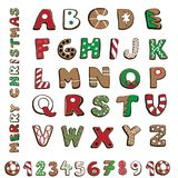 Vector illustration of Christmas cookies alphabet and numnbers isolated on white background. Hand drawn Christmas cookies alphabet and numbers on white vector illustration
