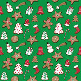 Vector illustration of christmas cookies set on green background seamless pattern. Hand drawn christmas cookies set on green background seamless pattern royalty free illustration