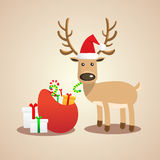 Vector Illustration of Christmas cute reindeer. Royalty Free Stock Images