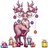 Vector illustration of Christmas deer in cartoon Stock Images