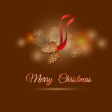 Vector illustration of christmas  design pine branch and cones. Stock Images
