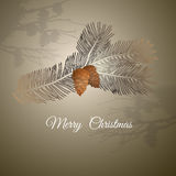 Vector illustration of christmas  design pine branch and cones. Royalty Free Stock Images