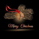Vector illustration of christmas  design pine branch and cones. Royalty Free Stock Photography