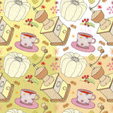 Vector illustration of Christmas dishes, grinder, cake and cup of chocolate, seamless christmas patterns Stock Images
