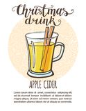 Vector illustration with Christmas drink apple cider royalty free illustration