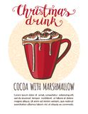 Vector illustration with Christmas drink Cocoa. Vector illustration Christmas drink Cocoa with marshmallow. Hand drawn cup with hot beverage on circle decorated stock illustration