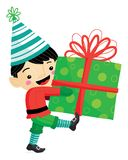 Vector illustration of Christmas elf with striped hat and stockings carrying a large present with a bow for the holidays stock illustration