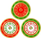 Set of round clocks. Vector illustration of a Christmas emblem isolated set of antique clock dials vector illustration