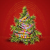 Vector illustration of Christmas fir-tree on red. Background Royalty Free Stock Image