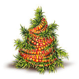Vector illustration of Christmas fir-tree on white Stock Images