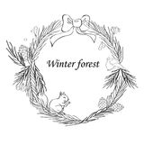 Vector illustration, Christmas frame with forest and celebratory elements. Branches of fir, cones, a candle, a bell. Stars. The inscription Winter fairy tale Royalty Free Stock Image