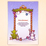 Vector illustration of Christmas Gate with snowman Royalty Free Stock Image