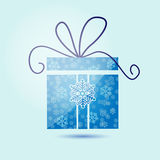 Christmas gift box with snowflakes Stock Photography