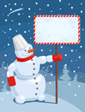 Vector illustration of a Christmas greeting card. With snowman Stock Photography
