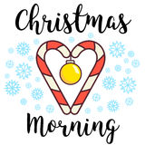 Vector illustration. Christmas greeting card. Candy canes heart. Yellow xmas ornament reminding a morning breakfast with Royalty Free Stock Images