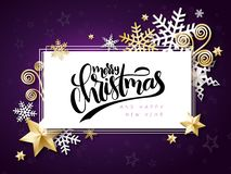 Vector illustration of christmas greeting card with hand lettering label - merry christmas - with stars, sparkles Royalty Free Stock Photography