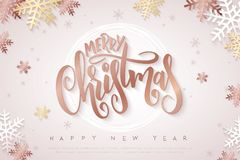 Vector illustration of christmas greeting card with hand lettering label - merry christmas - with stars, sparkles. Snowflakes and swirls Royalty Free Stock Photography