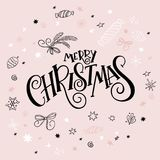 Vector illustration of christmas greeting card with hand lettering label - merry christmas - with doodle decorative. Elements, sparkles, stars and snowflakes Stock Photography