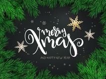 Vector illustration of christmas greeting card with hand lettering label - merry xmas - with stars, fir-tree branches. And snowflakes Royalty Free Stock Photos