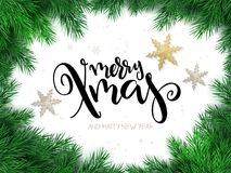Vector illustration of christmas greeting card with hand lettering label - merry xmas - with stars, fir-tree branches. And snowflakes Stock Photos