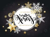 Vector illustration of christmas greeting card with hand lettering label - merry xmas - with stars, sparkles, snowflakes. And swirls Royalty Free Stock Photography