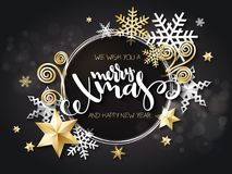 Vector illustration of christmas greeting card with hand lettering label - merry xmas - with stars, sparkles, snowflakes vector illustration