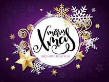 Vector illustration of christmas greeting card with hand lettering label - merry xmas - with stars, sparkles, snowflakes. And swirls Royalty Free Stock Images