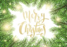 Vector illustration of christmas greeting card. With fir branches and hand lettering Royalty Free Stock Images