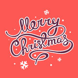 Vector illustration of christmas hand written text on red  Stock Image